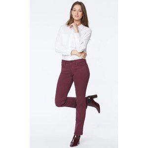 NEW NYDJ Marilyn Double Snap Straight Leg Mid Rise Jeans Deep Merlot 22W